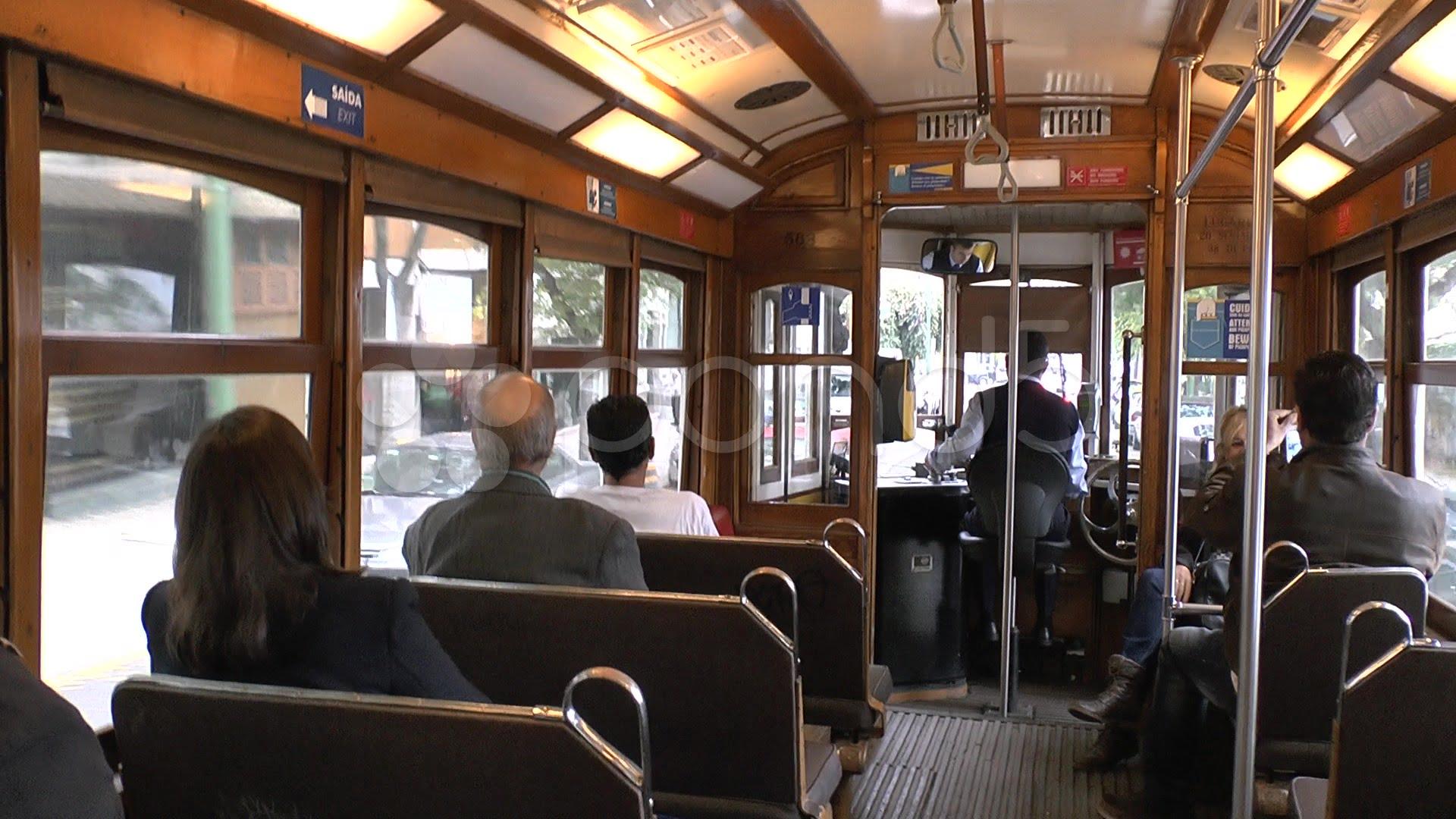 inside of Lisbon tramway 28