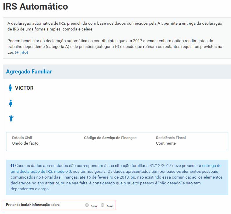 IRS automatico Portugal