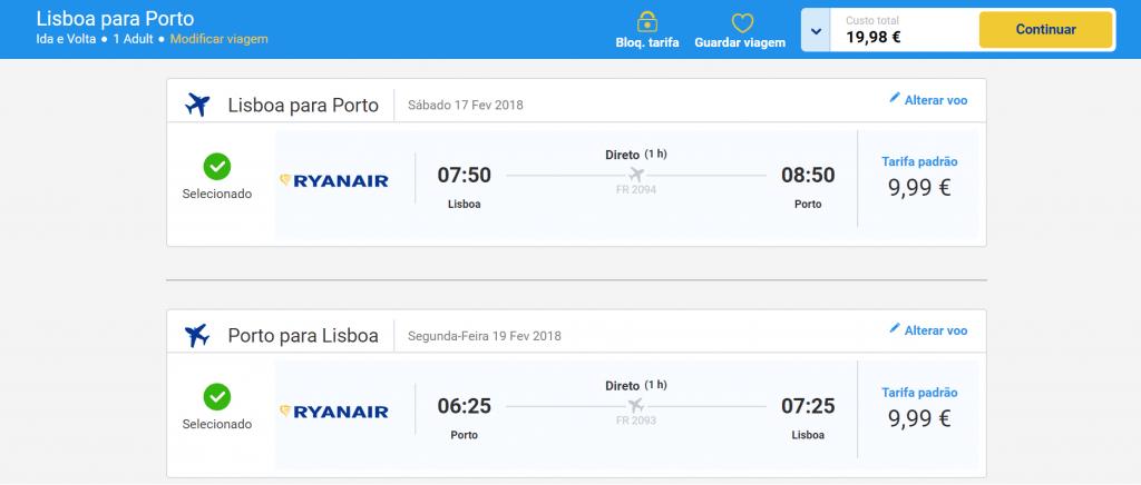 Aller retour Lisbonne Porto Ryanair
