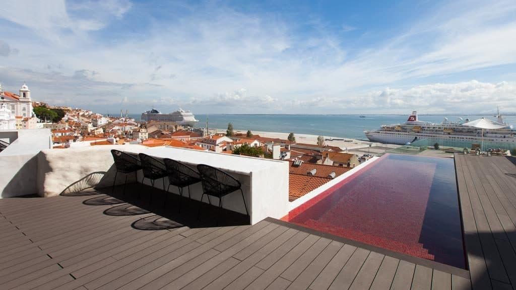 Hotel romantique Memmo Alfama Lisbonne piscine