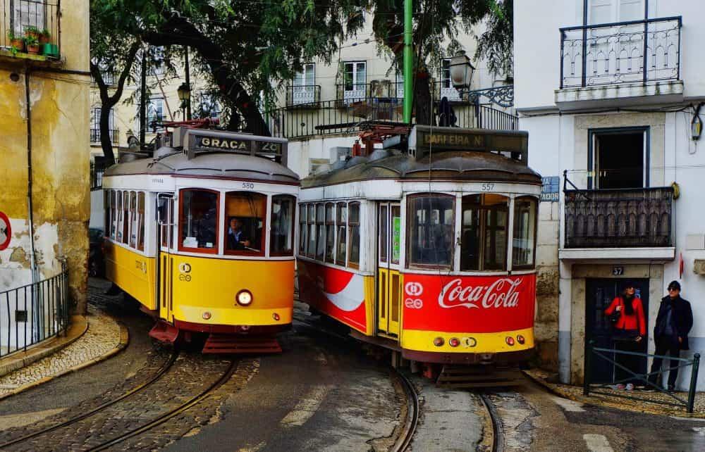 Trajet en tramway 28 de Lisbonne